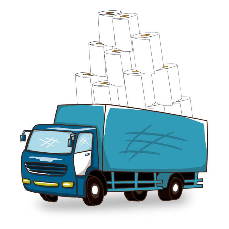 Camión transportando rollos de papel